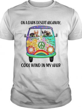 Hippie bus dogs in a dark desert highway cool wind in my hair t-shirt