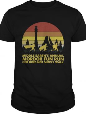 Middle earths annual Mordor fun run one does not simply walk sunset shirt