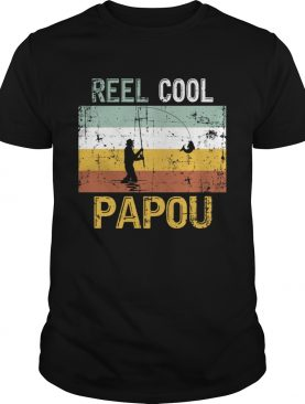 Reel Cool Papou Father Day Shirt Fishing Vintage 4th Of July T-Shirt