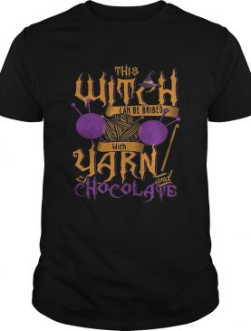 The witch can be bribed with yarn chocolate Halloween t-shirt