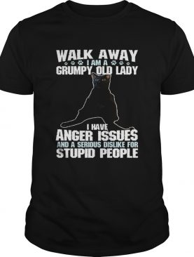 Walk away I am a Grumpy old lady cat shirt
