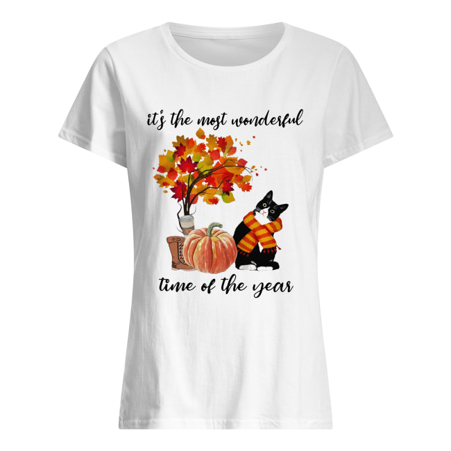Bombay Cat Collie It's The Most Wonderful Time Of The Year Fall Autumn Maple Leaf Shirt Classic Women's T-shirt