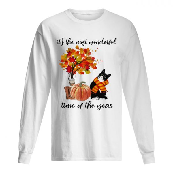 Bombay Cat Collie It's The Most Wonderful Time Of The Year Fall Autumn Maple Leaf Shirt Long Sleeved T-shirt