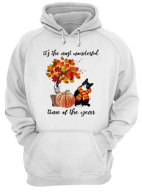 Bombay Cat Collie It's The Most Wonderful Time Of The Year Fall Autumn Maple Leaf Shirt Unisex Hoodie