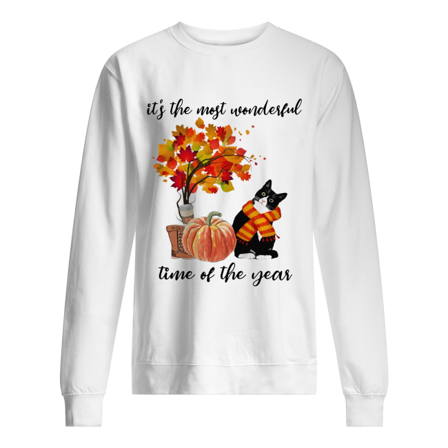 Bombay Cat Collie It's The Most Wonderful Time Of The Year Fall Autumn Maple Leaf Shirt Unisex Sweatshirt