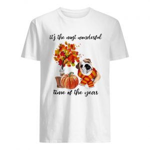 Bulldog It's The Most Wonderful Time Of The Year Fall Autumn Maple Leaf Shirt Classic Men's T-shirt