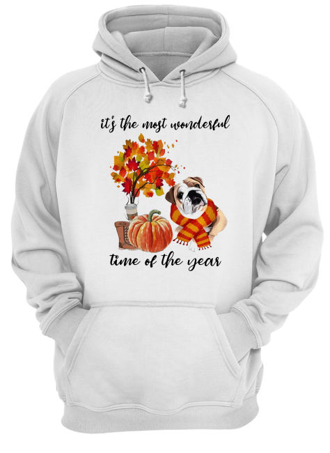 Bulldog It's The Most Wonderful Time Of The Year Fall Autumn Maple Leaf Shirt Unisex Hoodie