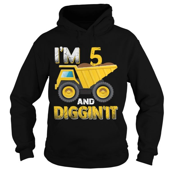 Construction Truck 5th Boy 5 Year Old Gift TShirt Hoodie