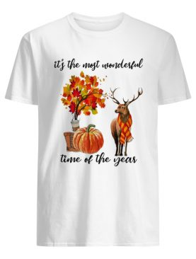 It's The Most Wonderful Time Fall Autumn Maple Leaf Deer Shirt