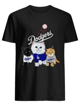 Three cat black white and yellow Los Angeles Dodgers shirt