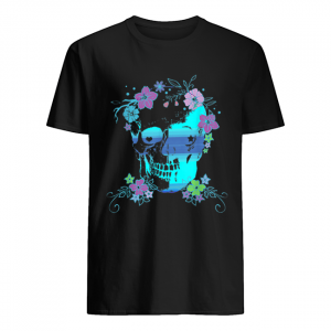 Beautiful Skull and Flowers, Halloween, Rave, Concert  Classic Men's T-shirt
