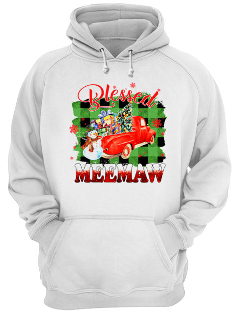 Blessed Meemaw Christmas Truck Snowman T-Shirt Unisex Hoodie