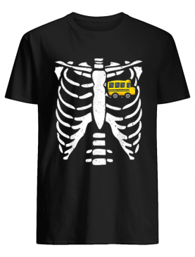Bus Driver Halloween Costume Skeleton Bone Rib Dad Tee shirt