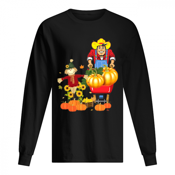Happy Harvest Scarecrow Pumpkin Patch Novelty T-Shirt Long Sleeved T-shirt