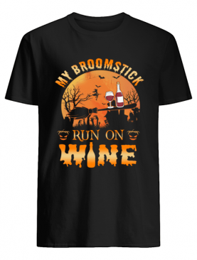MY BROOMSTICK RUN ON WINE MOON PUMPKINS HALLOWEEN TSHIRT