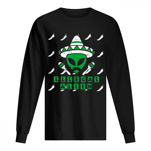Martian Illegal Alien Mexican Area-51 Funny Halloween Gift  Long Sleeved T-shirt