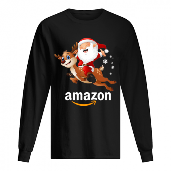 Santa Claus riding reindeer Amazon  Long Sleeved T-shirt