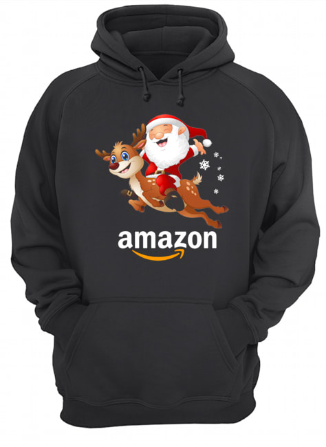 Santa Claus riding reindeer Amazon  Unisex Hoodie