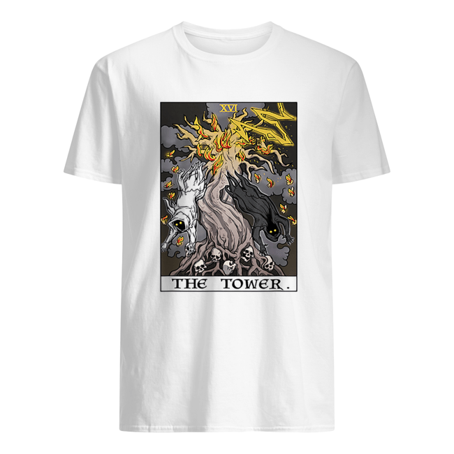 The Tower Tarot Card Halloween Tree of Life Goth Witch Gift Classic Men's T-shirt