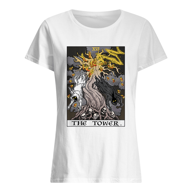 The Tower Tarot Card Halloween Tree of Life Goth Witch Gift Classic Women's T-shirt
