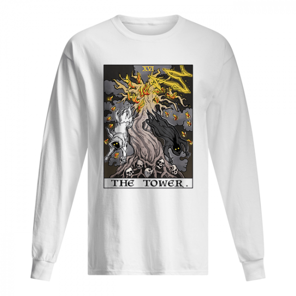 The Tower Tarot Card Halloween Tree of Life Goth Witch Gift  Long Sleeved T-shirt