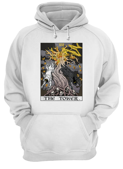 The Tower Tarot Card Halloween Tree of Life Goth Witch Gift  Unisex Hoodie