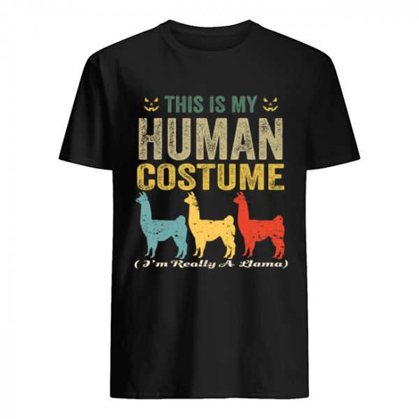 This Is My Human Costume I'm Really A Llama Funny Halloween T-Shirt Classic Men's T-shirt