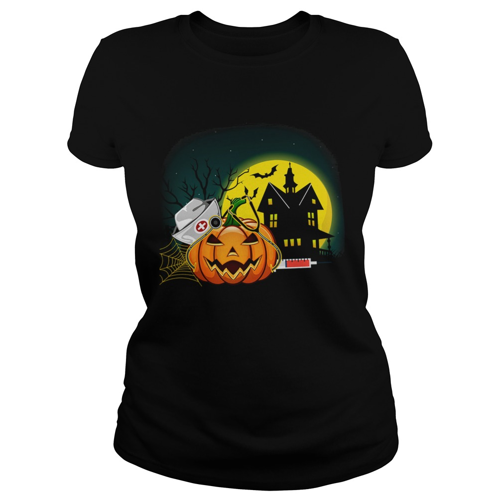 Womens Nurse PumpkinsWomens Halloween Pumpkin Scrubs TShirt Classic Ladies