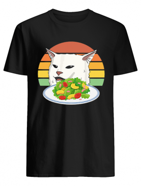 Angry women yelling at confused cat at dinner table meme shirt
