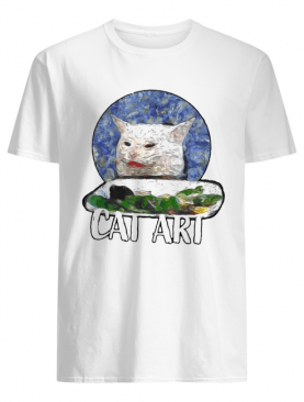 Angry yelling at confused cat at dinner table meme 2020 shirt