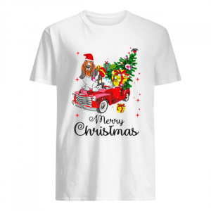 Basset Hound Ride Red Truck Christmas Pajama  Classic Men's T-shirt