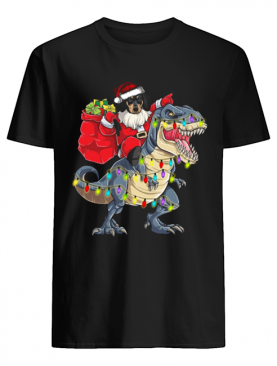 Christmas Dachshund Santa Riding Dinosaur Christmas Light shirt