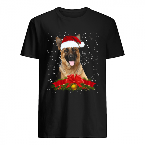 German Shepherd In Christmas Hat Funny Xmas  Classic Men's T-shirt