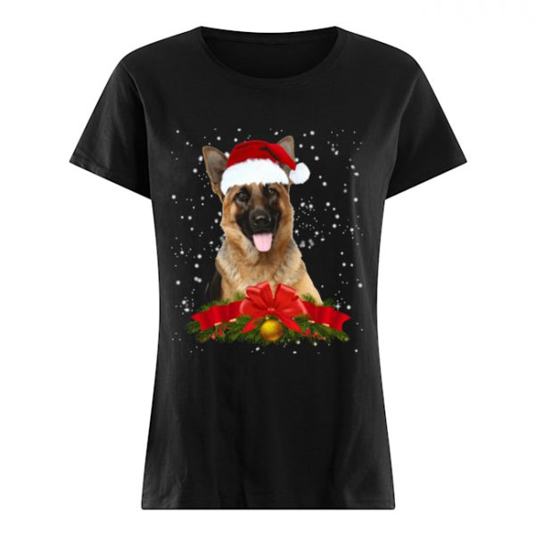 German Shepherd In Christmas Hat Funny Xmas  Classic Women's T-shirt