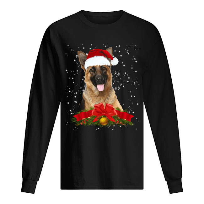 German Shepherd In Christmas Hat Funny Xmas Long Sleeved T-shirt