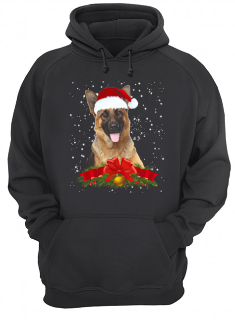 German Shepherd In Christmas Hat Funny Xmas  Unisex Hoodie
