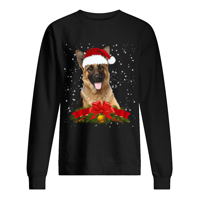 German Shepherd In Christmas Hat Funny Xmas Unisex Sweatshirt