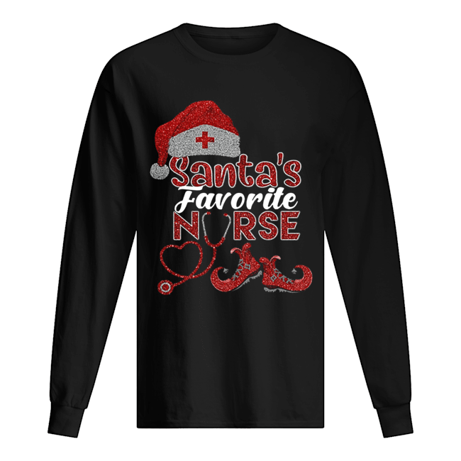 Glitter Santa's Favorite Nurse Christmas Long Sleeved T-shirt