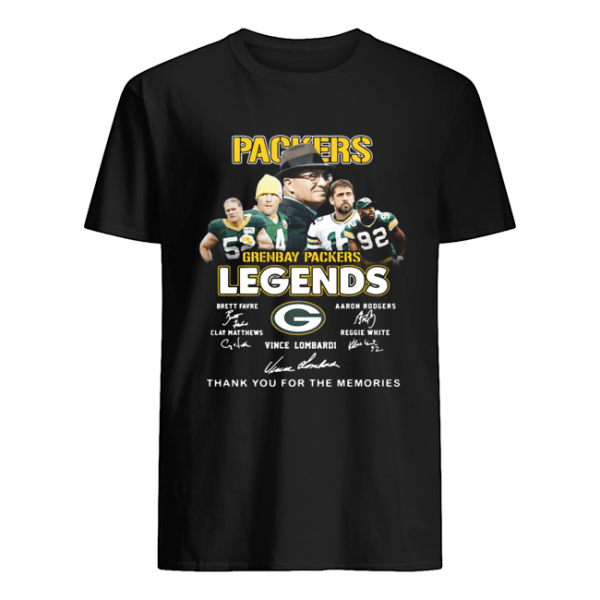 Green Bay Packers Brett Favre Aaron Rodgers Vince Lombardi Legends Thank You For The Memories Signatures  Classic Men's T-shirt