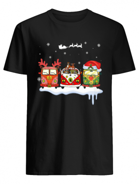 Hippie Car Reindeer light christmas shirt
