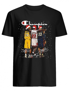 Kobe Bryant Michael Jordan and LeBron James Signatures Champion Christmas shirt