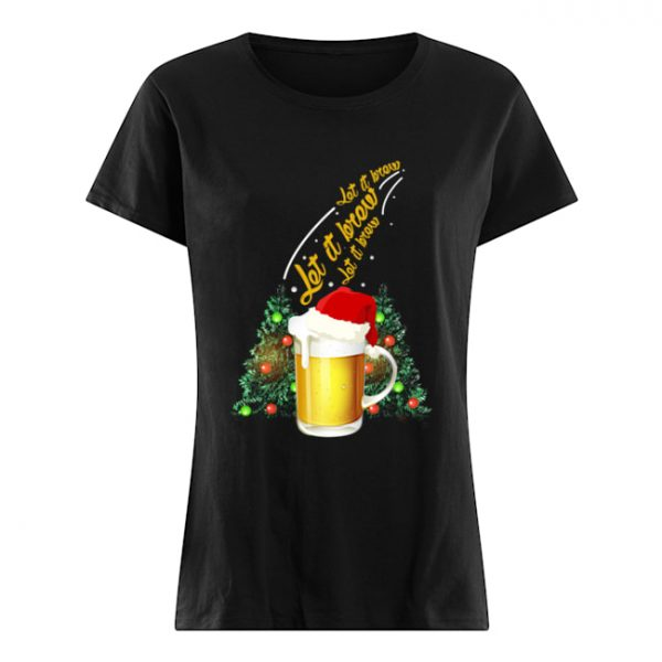 Let It Brew Beer Santa Hat Funny  Classic Women's T-shirt