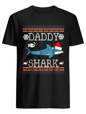 Mens Matching Family Christmas Pajamas Shirts-Daddy Shark shirt