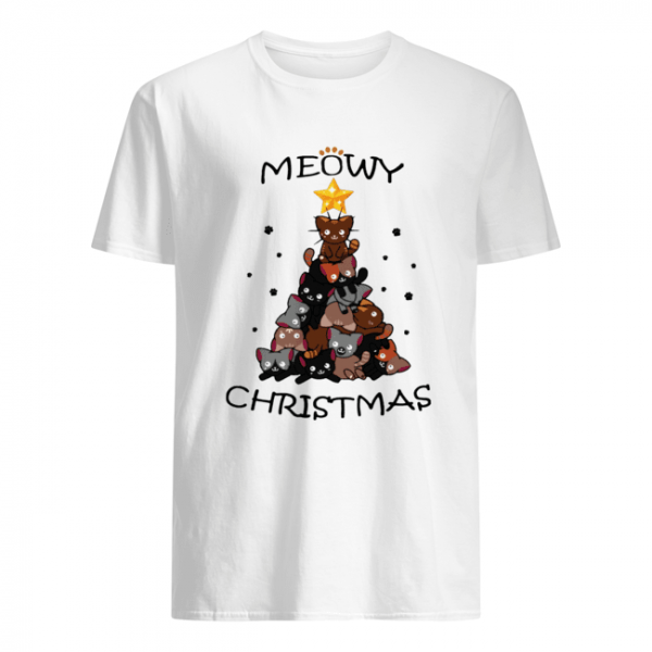 Meowy Christmas Tree Cute Merry Xmas  Classic Men's T-shirt