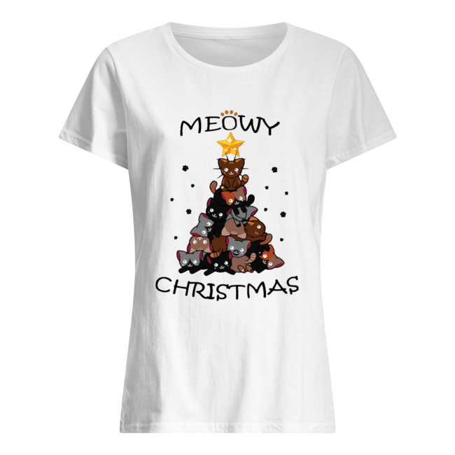 Meowy Christmas Tree Cute Merry Xmas Classic Women's T-shirt