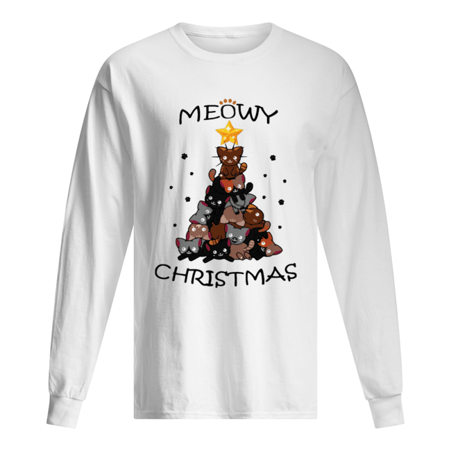 Meowy Christmas Tree Cute Merry Xmas Long Sleeved T-shirt