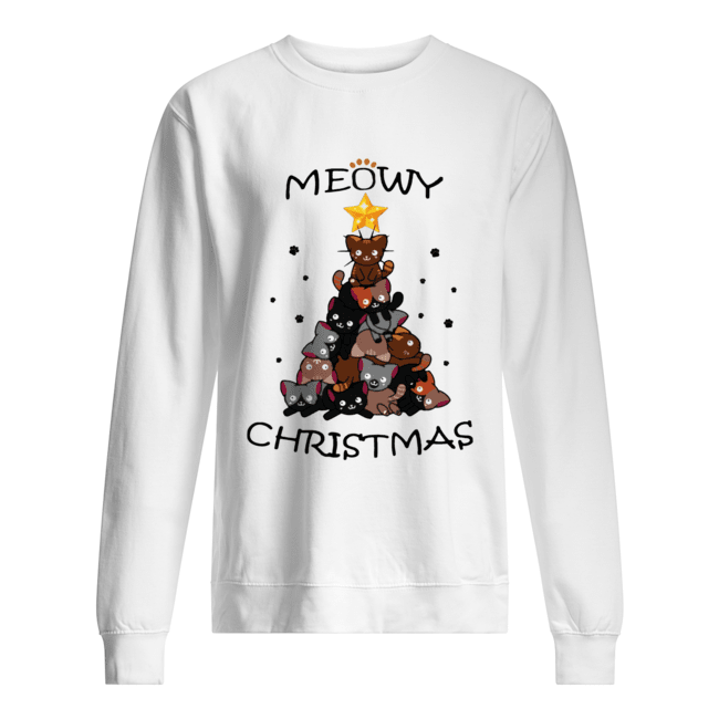 Meowy Christmas Tree Cute Merry Xmas Unisex Sweatshirt