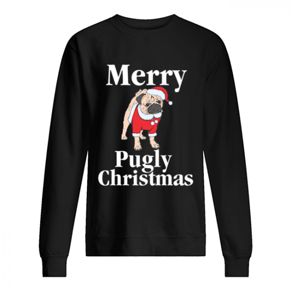 Merry Pugly Christmas Pug Xmas Dog Lover  Unisex Sweatshirt