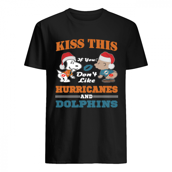 Peanuts kiss this if you don't like Hurricanes and Dolphins  Classic Men's T-shirt