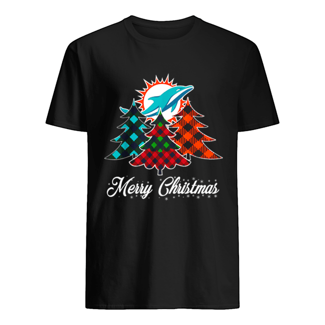 Pretty Merry Christmas Tree Football Team Miami-Dolphin Fan Classic Men's T-shirt